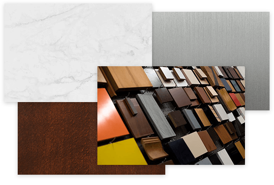 Materials - marble, aluminum, wood